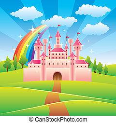 racconto, fata, vettore, castello, illustrazione