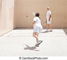 racquetball, coppia, gioco, anziano