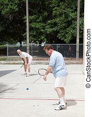 racquetball, famiglia, gioco