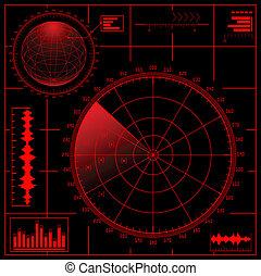 radar, globe., digitale, schermo