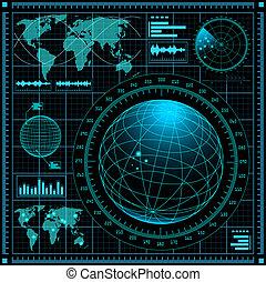 radar, schermo, mappa mondo