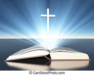 radiates, bibbia, croce, sotto, luce