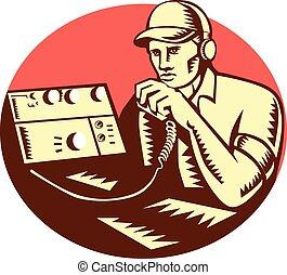 radio, woodcut, operatore, cerchio, prosciutto