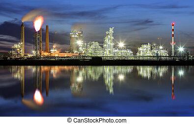 raffineria acqua, olio, riflessione, notte