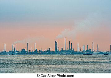 raffineria, olio, isola, singapore, bukom