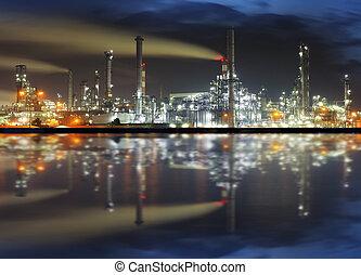 raffineria, olio, notte