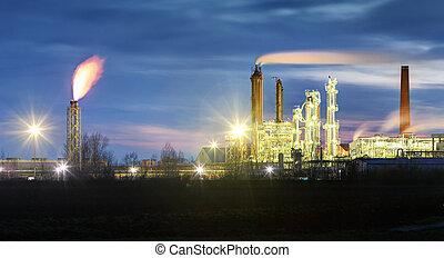 raffineria, olio, pila, fumo, notte