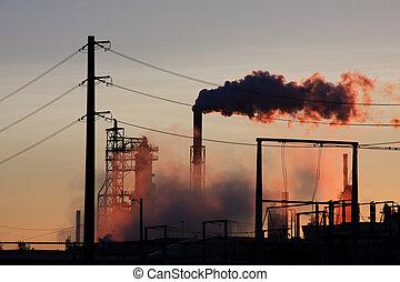raffineria, olio, tramonto