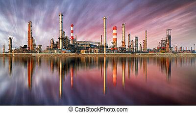 raffineria, olio, tramonto, riflessione