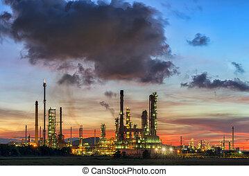 raffineria, olio, tramonto, sky.