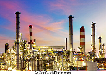 raffineria, tramonto, olio, -, fabbrica