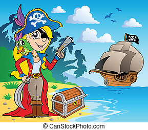 ragazza, 2, pirata, costa