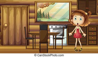 ragazza, abbicare, cucina