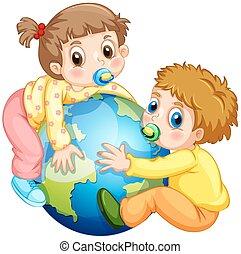 ragazza, abbracciare, ragazzo, bambini primi passi, terra