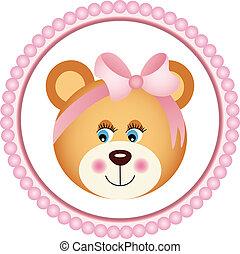 ragazza, adesivo, orso, teddy