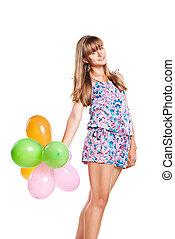 ragazza adolescente, ballons, colorito