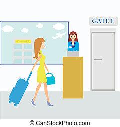 ragazza, aeroporto, valigia