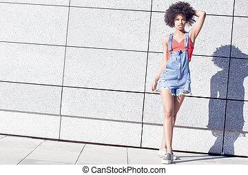 ragazza, afro, posing.