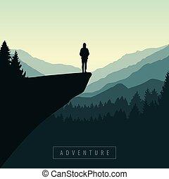 ragazza, alba, scogliera, andando gita, mountain view, avventura