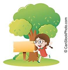 ragazza, albero, correndo, sotto