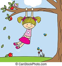 ragazza, albero, gioco, altalena