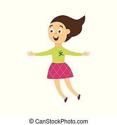 ragazza, allegro, vettore, felice, appartamento, illustrazione, saltare, isolated., gioia, carattere