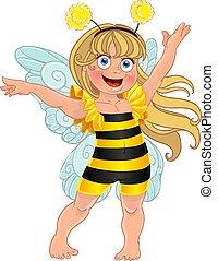 ragazza, ape, completo, carnevale, piccolo