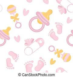 ragazza, appartamento, bambino, rosa, modello, tessile, doccia, pacchetto, bagno, coperchio, design., printable, carino, ripetere, cartone animato, ragazze, relativo, carta da parati, frame., nursery., icons., seamless, elementi