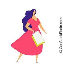 ragazza, appartamento, carattere, femmina, vestire, colorito, vettore, casato, negozio, quotidiano, shopping, shopping., clothes., moderno, isolato, elegante, bags., fondo, sconti, vendite, porta, illustrazione, bianco, donna