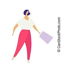 ragazza, appartamento, carattere, vestiti, store., colorito, vettore, casato, sale., casuale, shopping., moderno, isolato, borse, o, fondo, porta, moda, negozio, illustrazione, bianco, donna, concettuale