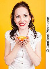 ragazza, arance