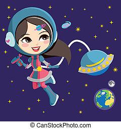 ragazza, astronauta, carino
