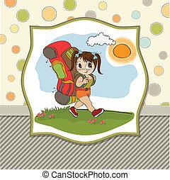 ragazza, backpac, viaggiare, turista