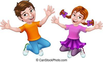 ragazza, bambini, ragazzo, bambini, cartone animato, saltare