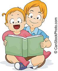 ragazza bambino, libro, fratello, lettura