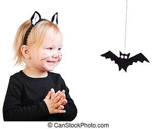 ragazza, bambino primi passi, nero, costume, gatto