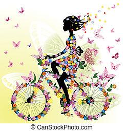 ragazza, bicicletta, romantico