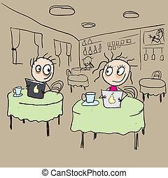 ragazza, caffè, flirting, occhieggiare