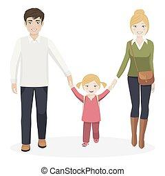 ragazza, camminare, genitori, scuola, lei