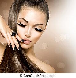 ragazza, capelli foggiano, bellezza, modello, marrone, sano, lungo