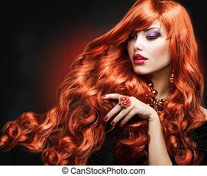 ragazza, capelli foggiano, portrait., hair., riccio, rosso, lungo