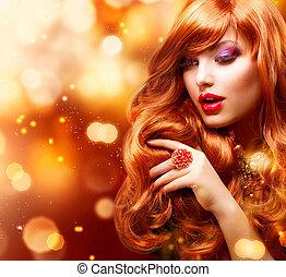 ragazza, capelli foggiano, portrait., ondulato, dorato, rosso