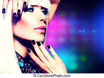 ragazza, capelli foggiano, portrait., trucco, festa, discoteca, viola, bianco