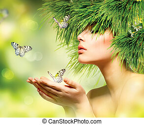 ragazza, capelli, trucco, erba, estate, woman., verde, primavera