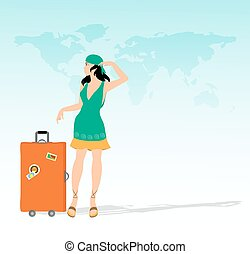 ragazza, carino, valigia
