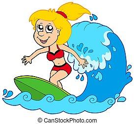 ragazza, cartone animato, surfer