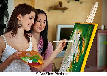 ragazza, cavalletto, pittura, giovane