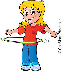 ragazza, cerchio hula, esercizio