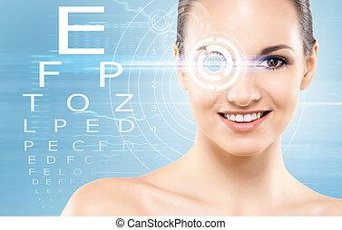 ragazza, chirurgia laser, bello, concetto