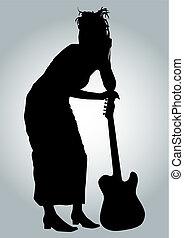 ragazza, chitarrista
